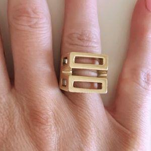 Chloe Cutout Geometric Cocktail Ring- Gold